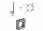 M3 Vierkantmuttern niedrig DIN562 Stahl verzinkt FKL4...