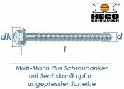 7,5 x 100mm MMS-plus Schraubanker mit Sechskantkopf mit angepresster Scheibe (1 Stk.)