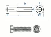 M8 x 45mm Zylinderschraube DIN7984 Edelstahl A2  (1 Stk.)