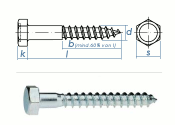 8 x 50mm Sechskant-Holzschrauben DIN 571  Verzinkt (10 Stk.)