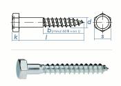 8 x 130mm Sechskant-Holzschrauben DIN 571  Verzinkt (10...